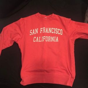brandy melville red san francisco sweatshirt
